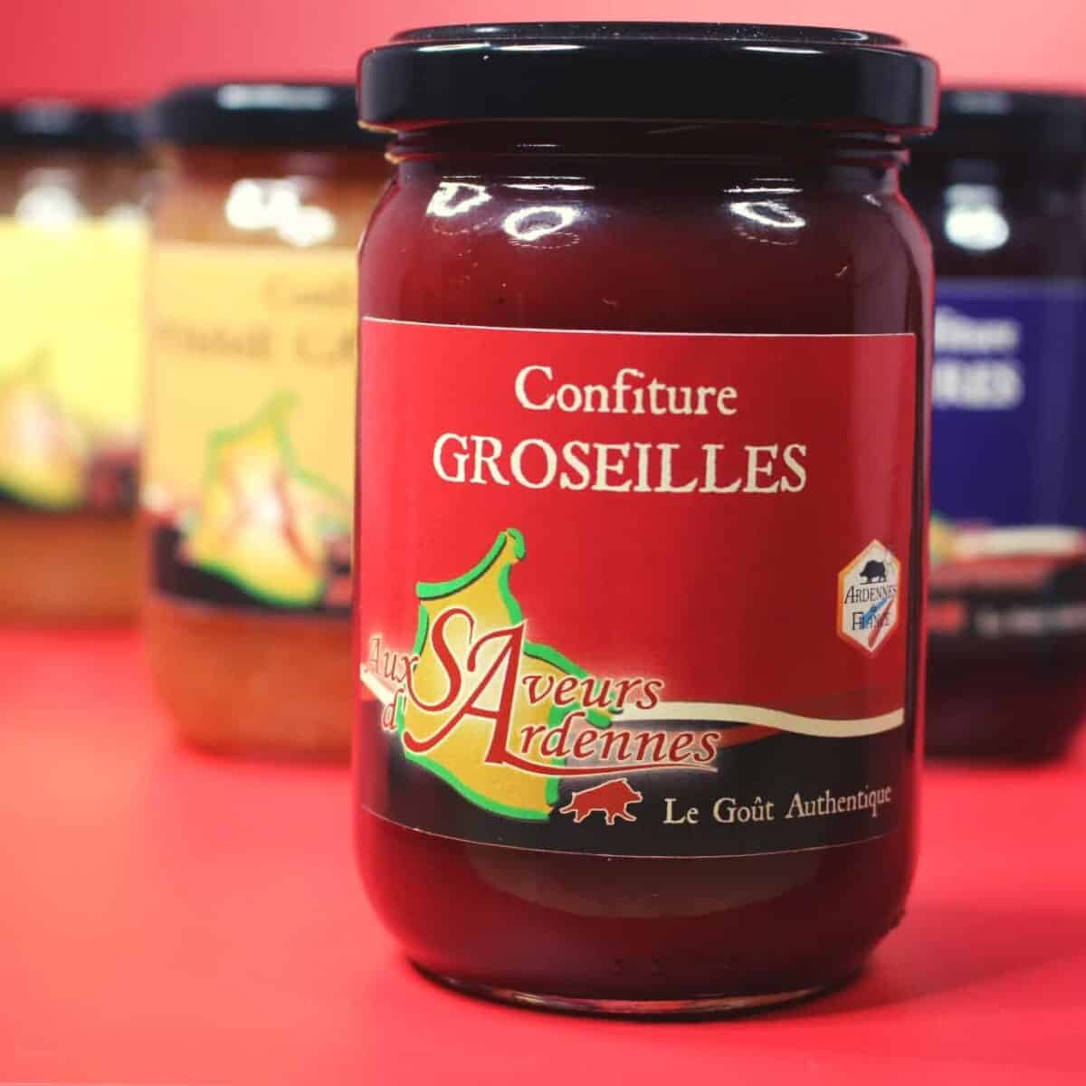 Confitures, Saveurs D'ardennes, Vat, Groseille, Mure, Pomme, Poire, Rhubarbe
