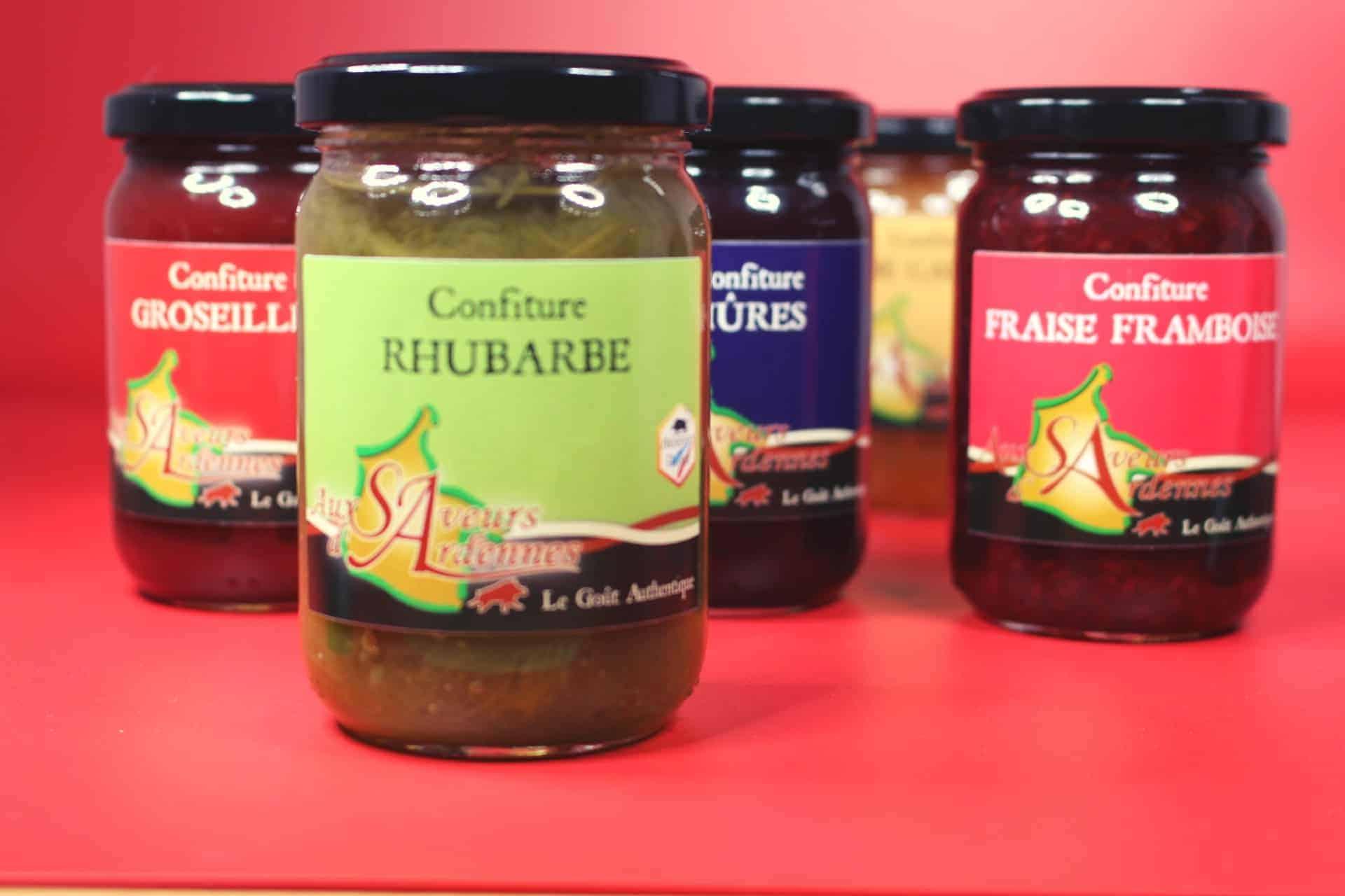 Confitures, Saveurs D'ardennes, Vat, Groseille, Mure, Pomme, Poire, Rhubarbe 2